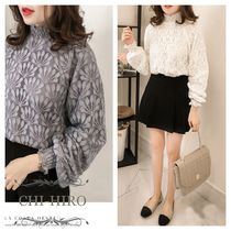 Puffed Sleeves Medium Party Style Lace Shirts & Blouses