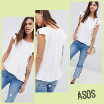 ASOS Casual Style Boat Neck Plain Short Sleeves Shirts & Blouses
