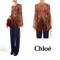 Chloe Casual Style Silk U-Neck Long Sleeves Medium