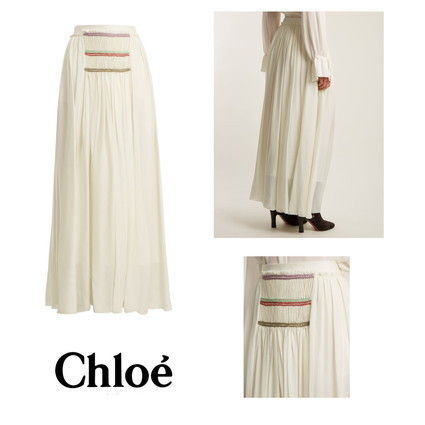 Flared Skirts Casual Style Silk Long Maxi Skirts