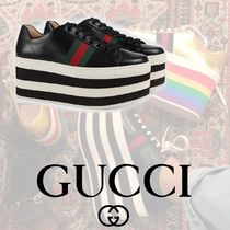 6f353f5a30f GUCCI Stripes Platform Round Toe Lace-up Casual Style Leather