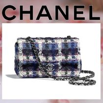 CHANEL Other Check Patterns Lambskin Blended Fabrics Chain
