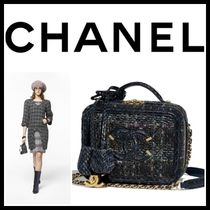 CHANEL Other Check Patterns Blended Fabrics Vanity Bags 2WAY Chain