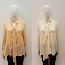 Chloe Silk Long Sleeves Plain Shirts & Blouses
