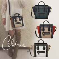 CELINE Luggage Unisex Calfskin 2WAY Bi-color Elegant Style Handbags