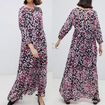 SELECTED Crew Neck Flower Patterns Maxi Long Sleeves Long
