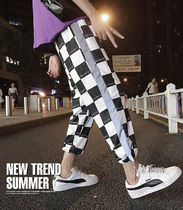 Printed Pants Gingham Street Style Cotton Oversized