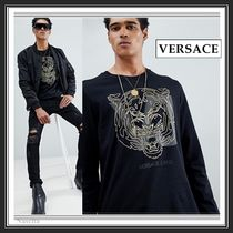 VERSACE Crew Neck Pullovers Long Sleeves Plain Cotton