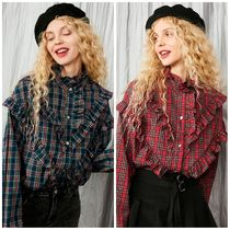 ELF SACK Tartan Casual Style Street Style Shirts & Blouses
