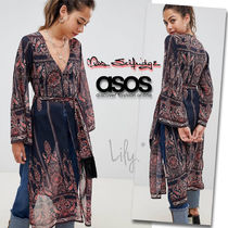 ASOS Flower Patterns Paisley V-Neck Long Sleeves Long Tunics