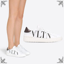 VALENTINO Rubber Sole Lace-up Casual Style Studded Plain Leather