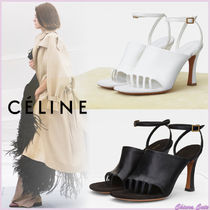 CELINE Open Toe Casual Style Plain Leather Pin Heels Heeled Sandals