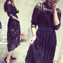 Flower Patterns Flared Long Sleeves Long High-Neck Lace