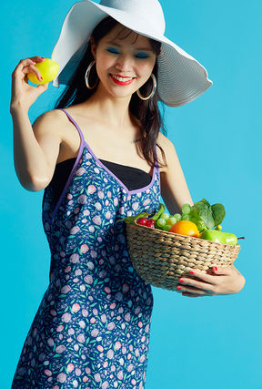 Flower Patterns Casual Style A-line Sleeveless V-Neck Cotton