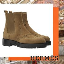 HERMES Plain Toe Casual Style Suede Plain Ankle & Booties Boots