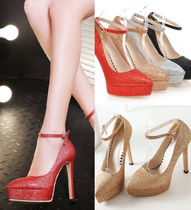 Round Toe Plain Pin Heels Party Style Special Edition