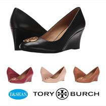 Tory Burch Round Toe Leather Wedge Pumps & Mules