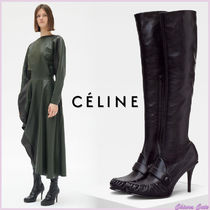 CELINE Round Toe Plain Leather Pin Heels Elegant Style