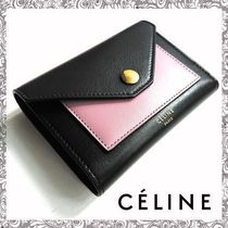 CELINE Pocket Trifolded Bi-color Leather Long Wallets