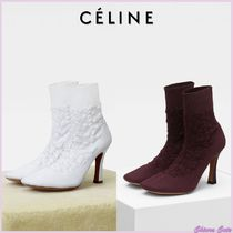 CELINE Round Toe Casual Style Plain Pin Heels Ankle & Booties Boots
