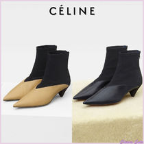 CELINE Bi-color Plain Leather Block Heels Elegant Style