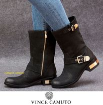 Vince Camuto Round Toe Casual Style Street Style Plain Leather
