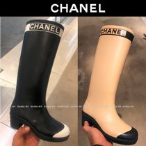 CHANEL Bi-color Block Heels Over-the-Knee Boots