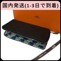 HERMES Silk In Unisex Plain Other Animal Patterns Leather Long Wallets