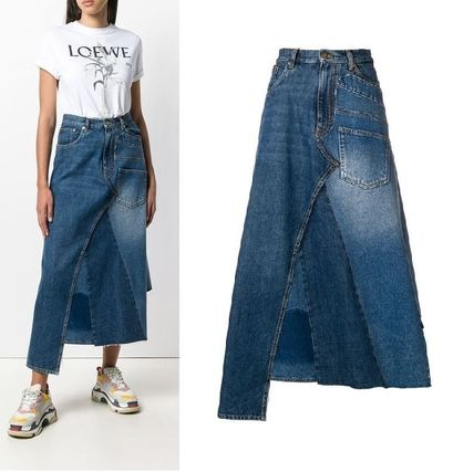 Denim Plain Medium Midi Skirts