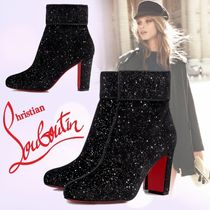 Christian Louboutin Round Toe Velvet Plain Chunky Heels Ankle & Booties Boots