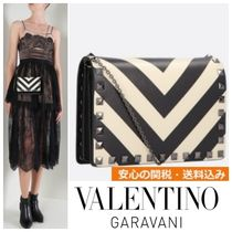 VALENTINO Casual Style Calfskin Studded Chain Shoulder Bags