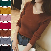 Rib V-Neck Long Sleeves Plain Cotton Medium Elegant Style