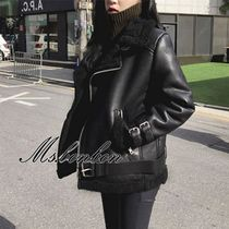 Casual Style Faux Fur Plain Medium Biker Jackets