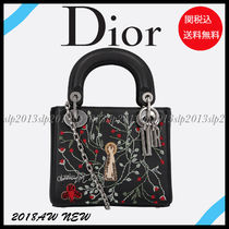 Christian Dior Flower Patterns Calfskin Blended Fabrics 2WAY Chain