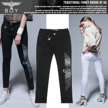 BOY LONDON Casual Style Unisex Studded Cotton Long Skinny Pants