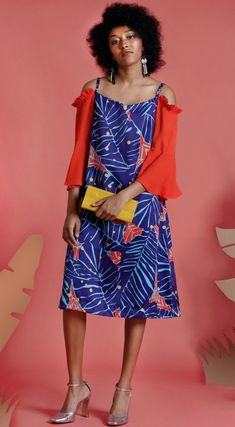 Tropical Patterns A-line Street Style Medium Party Style
