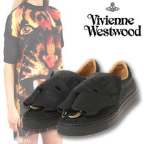 Vivienne Westwood Round Toe Casual Style Suede Blended Fabrics Studded Plain