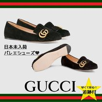 GUCCI Suede Fringes Office Style Loafer Pumps & Mules