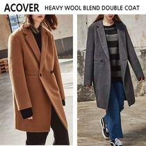 ACOVER Casual Style Unisex Wool Studded Plain Long Duffle Coats