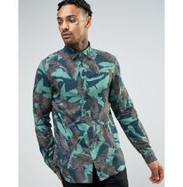 DIESEL Camouflage Tropical Patterns Long Sleeves Cotton Shirts