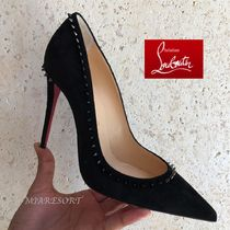 Christian Louboutin Suede Studded Pin Heels Pointed Toe Pumps & Mules