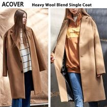 ACOVER Casual Style Wool Studded Plain Long Parkas