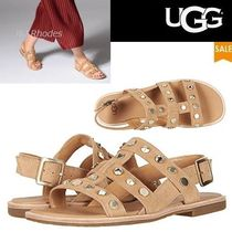 UGG Australia Open Toe Casual Style Suede Studded Plain Espadrille Shoes