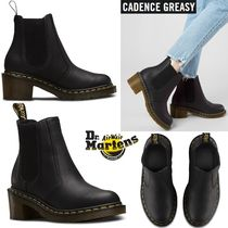 Dr Martens Plain Toe Plain Leather Block Heels Chelsea Boots