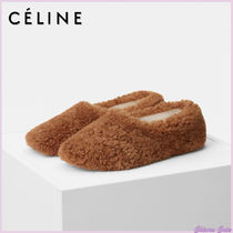 CELINE Casual Style Sheepskin Plain Slippers Shearling