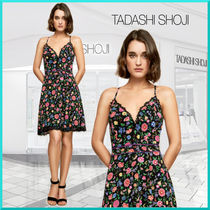 TADASHI SHOJI Flower Patterns A-line Sleeveless V-Neck Medium Party Style