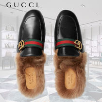 GUCCI Princetown Blended Fabrics Leather Loafers & Slip-ons