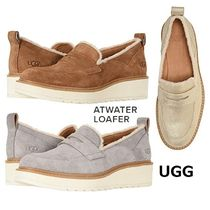 UGG Australia Plain Toe Moccasin Blended Fabrics Plain Leather