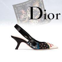 Christian Dior Casual Style Bi-color Leather Pin Heels