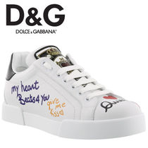 Dolce & Gabbana Heart Round Toe Rubber Sole Lace-up Casual Style Plain